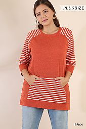 PLUS STRIPE TRIM PULLOVER