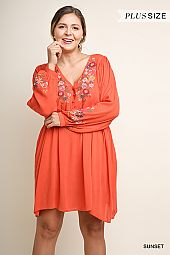 PLUS EMBROIDERY ACCENT V NECK FLARING DRESS