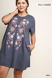 PLUS EMBROIDERY CASUAL DRESS