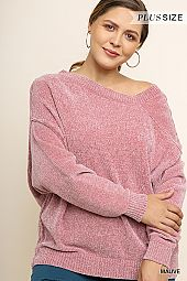 PLUS ASYMMETRICAL NECK LINE SOFT SWEATER