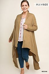 PLUS ASYMMETRICAL RIBBED HEM OPEN CARDIGAN