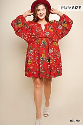 PLUS FLORAL PIN TUCK FLARING DRESS