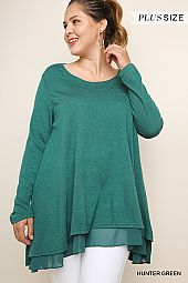 PLUS CHIFFON HEM TUNIC TOP