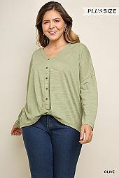PLUS TWIST FRONT BUTTON TRIM TOP