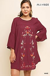 PLUS EMBROIDERY DETAIL DRESS