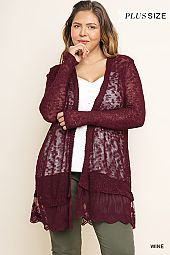 SCALLOPED LACE HEM SHEER CARDIGAN