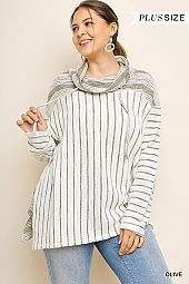 PLUS MULTI STRIPE PULLOVER