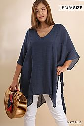 PLUS SIDE DRAPING SHEER PONCHO TOP