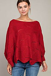 SCALLOP HEM BOXY SWEATER