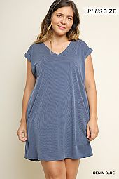 PLUS V NECK CASUAL DRESS