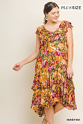 PLUS TIER RUFFLE HEM FLORAL DRESS