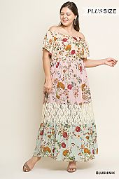 PLUS LACE TRIM FLORAL OFF SHOULDER MAXI DRESS
