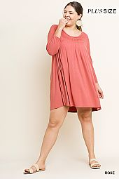 PLUS ROUND NECK FLARING DRESS