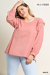 PLUS RUFFLE DETAIL BUBBLE SLEEVES BLOUSE