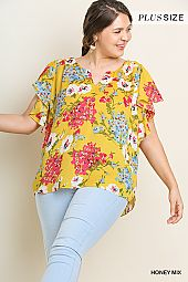 PLUS FLORAL PIN TUCK BLOUSE