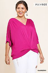 SOLID V NECK GATHERED FRONT TOP
