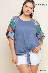 PLUS BOHEMIAN FLUTTER SLEEVES FRONT TIE TOP