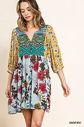 MULTI PRINT V NECK WOVEN DRESS