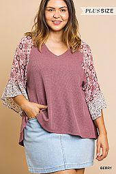 PLUS BOHEMIAN SLEEVES WAFFLE KNIT TOP
