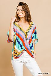 TWIST DETAIL STRIPE WOVEN BLOUSE