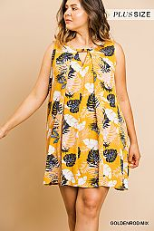 PLUS LEAF PRINT FLARING DRESS