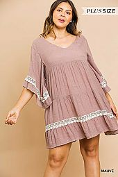 RUFFLE BELL SLEEVE CROCHET DETAIL DRESS