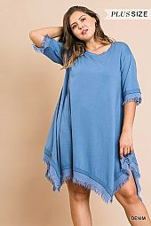 PLUS ASYMMETRICAL RAW CUT HEM FLARING DRESS