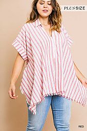 PLUS RAW CUT HEM VERTICAL STRIPE BOXY BLOUSE
