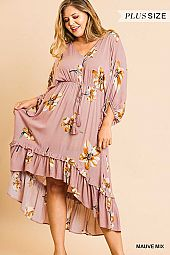 FLORAL PRINT V NECK HI LO RUFFLE HEM DRESS