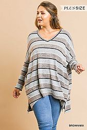 PLUS STRIPE PRINT V NECK TUNIC TOP