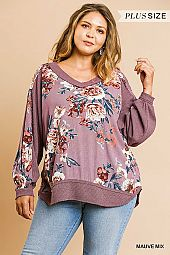 FLORAL PRINT LONG PUFF SLEEVE V NECK TOP