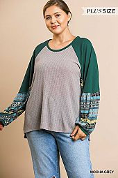 PLUS AZTEC LONG PUFF SLEEVE  WAFFLE KNIT TOP
