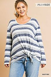 STRIPE PRINT FRONT WAIST TIE SOFT KNIT TOP
