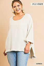 SOLID LINEN BLEND BELL SLEEVE ROUND NECK TOP