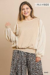 WAFFLE AND SOFT KNIT DOLMAN SLEEVE TOP