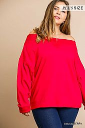 SOLID LONG SLEEVE OFF SHOULDER TOP