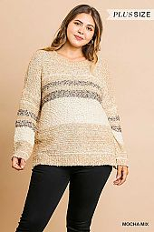 STRIPE PRINT SOFT KNIT PULLOVER SWEATER
