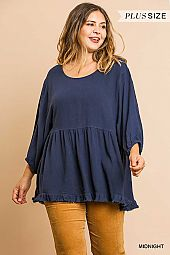 SOLID RUFFLE HEM PUFF SLEEVE ROUND NECK TOP