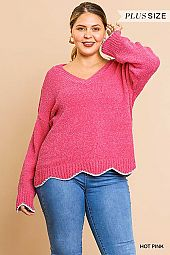 SOLID V NECK LUREX SCALLOP HEM SWEATER