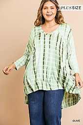 TIE DYE PRINT V NECK TUNIC TOP