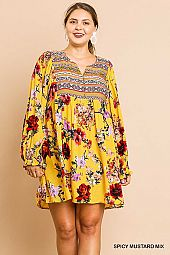 FLORAL PRINT PUFF SLEEVE PLUS DRESS
