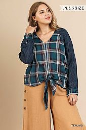 PLAID AND CHECKER PRINT V NECK TOP