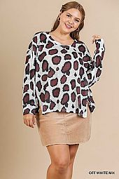 ANIMAL PRINT LONG SLEEVE ROUND NECK TOP
