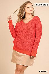 SOLID V NECK FUZZY SOFT KNIT SWEATER