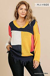 COLOR BLOCK FRAYED HEM V NECK SWEATER