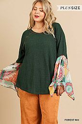SHEER PAISLEY PRINT SPLIT SLEEVE WAFFLE KNIT TOP