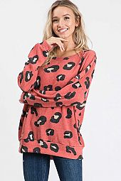 *PRE-ORDER* ANIMAL PRINT ROUND NECK LOOSE FIT TOP