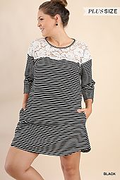 PLUS LACE TRIM STRIPED CASUAL DRESS