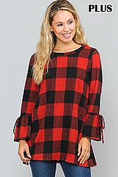CHECKER PRINT BELL SLEEVE ROUND NECK TOP