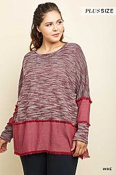 PLUS FRAYED ACCENT MARLED BOXY TOP